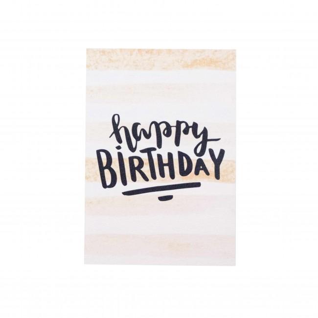 """Открытка """"Happy Birthday"""" золотисто-белая полоска"""
