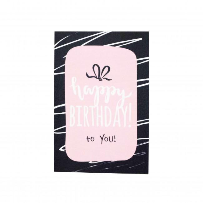 "Открытка ""Happy Birthday"" черно-розовая полоска"