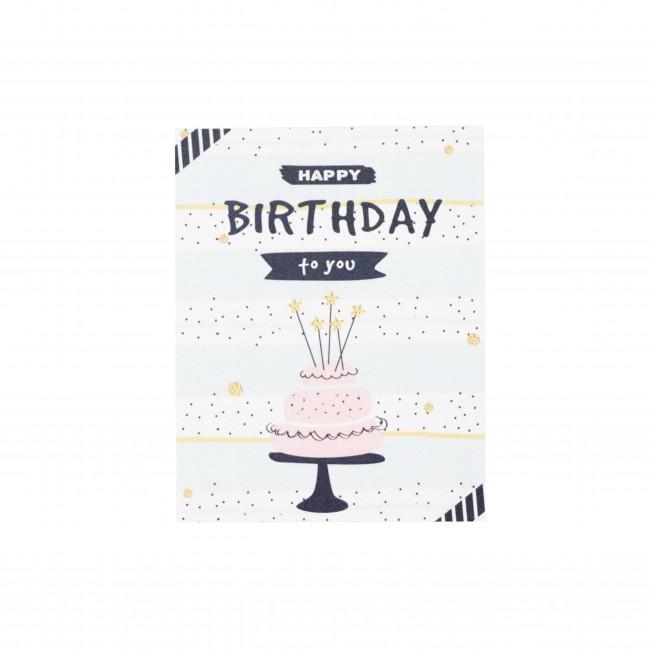 "Открытка ""Happy Birthday to You"" голубая, тортик"