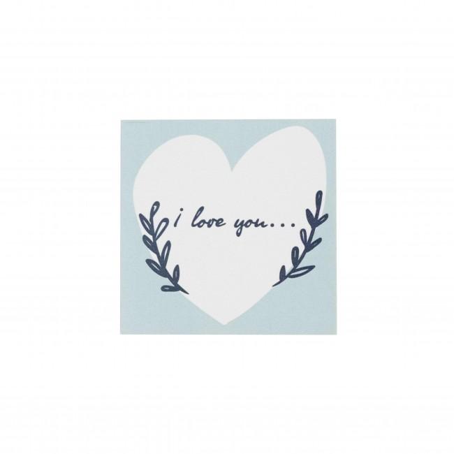 """Открытка """"I love you"""" голубая в сердечке"""