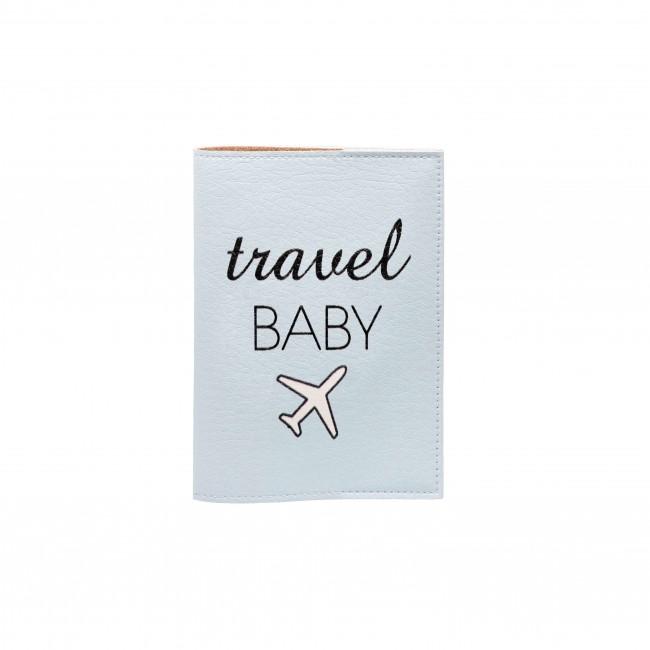 "Обложка на паспорт ""Travel baby"" голубая"