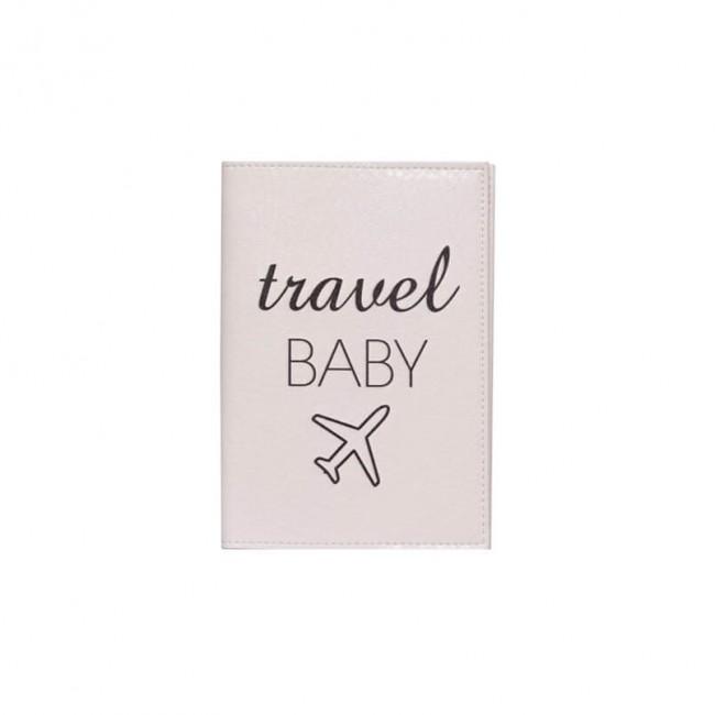 "Обложка на паспорт ""Travel baby"" белая"