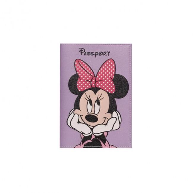 """Обложка на паспорт """"Мини Маус"""" фиолетовая"""